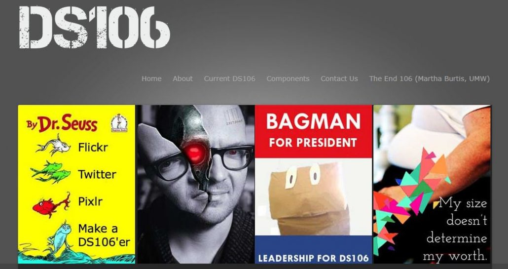 Main Page of DS106 website