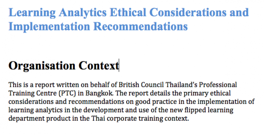Learning Analytics Ethical Considerations and Implementation Recommendations