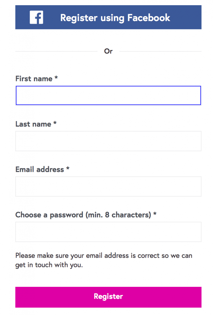 Future Learn Signup Page