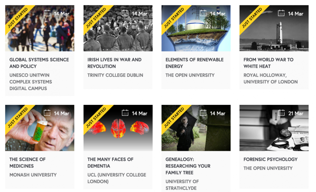 Future Learn lists of courses provided by a variety of institutions