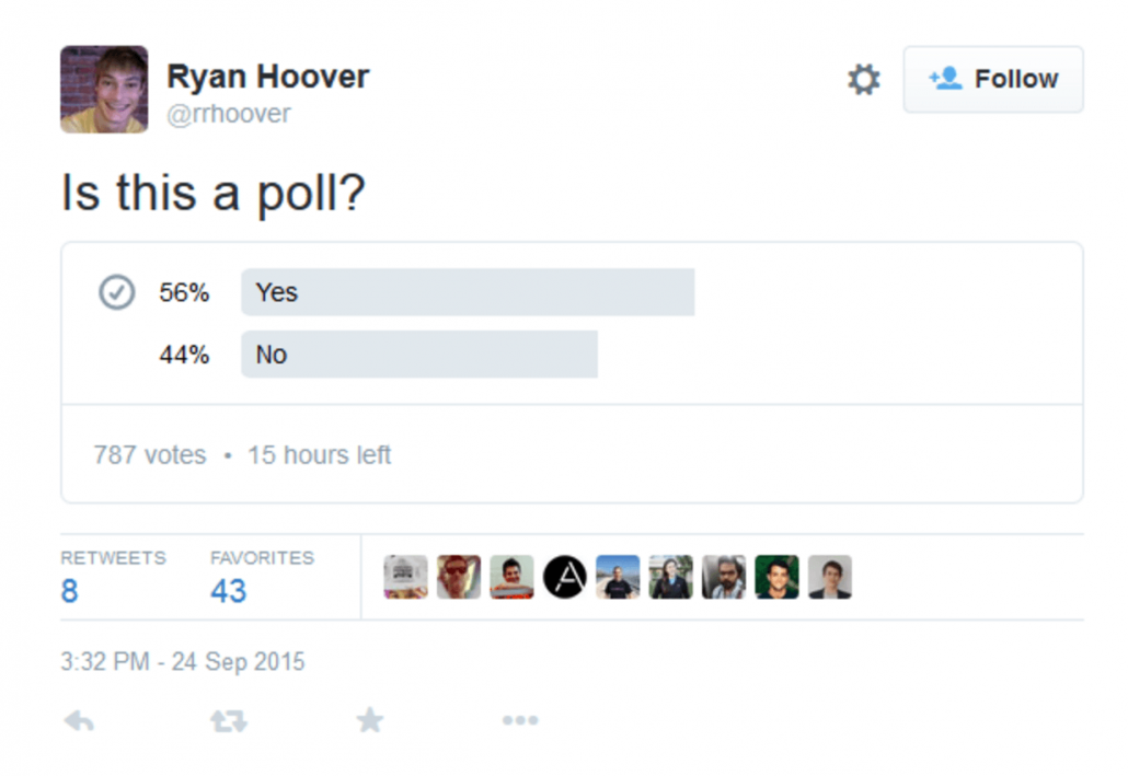 Twitter Poll showing question 'Is this a poll