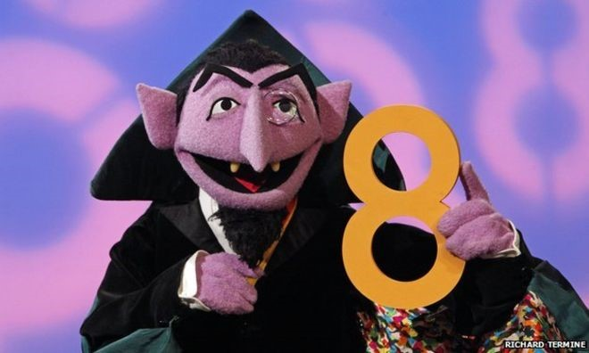 The Count vampire from Sesame Street holding the number 8