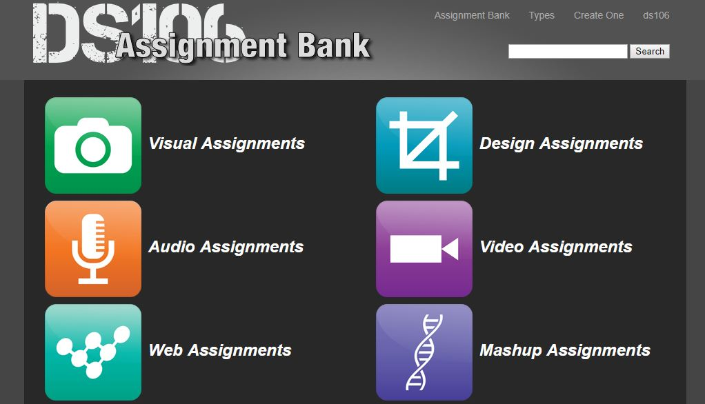 screen grab of ds106's assignment bank
